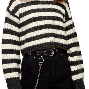 NEW TOPSHOP Oversized Crop Chunky Sweater Size 14